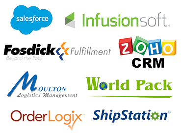 Fullfilment partners - Salesforce, Infusionsoft, Fosdick, Zoho, Moulton, World Pack, OrderLogix, ShipStation